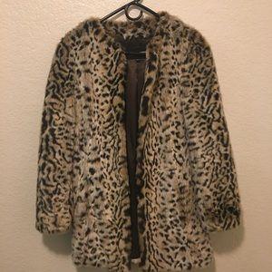 Faux fur leopard coat.